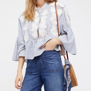 Free People Liya Embroidered Floral Top in Blue S